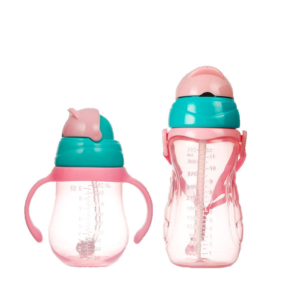 260 330ml Kids Baby Sippy Cup Children Learn Drinking Water Straw Handle Bottle Training Drink School Milk Baby Water Bottles