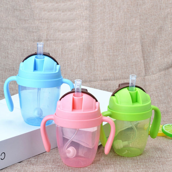 300ml Cute 360 Degree Sippy Baby Feeding Cup with Straw Children Learn Feeding Drinking Bottle with Handle Kids Training Cup