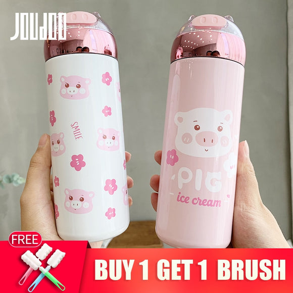 JOUDOO Cute Pig Stainless Steel Vacuum Flask Shiny Cup Baby Pink Fashion Water Bottle Themor Cup 35