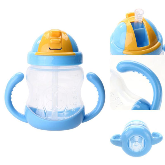 1Pc Double Handle Baby Trainer Cup 280ml Newborn Baby Milk Bottle Straw Type Cup Kids Children Baby Feeding Drinking Water Cup