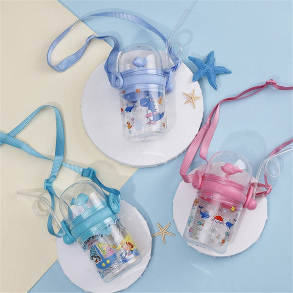 250ML Water bottle Milk bottle Infant Cup Children Learn Feeding Straw Juice Drinking Little for Baby to Play Whale Sprays Water