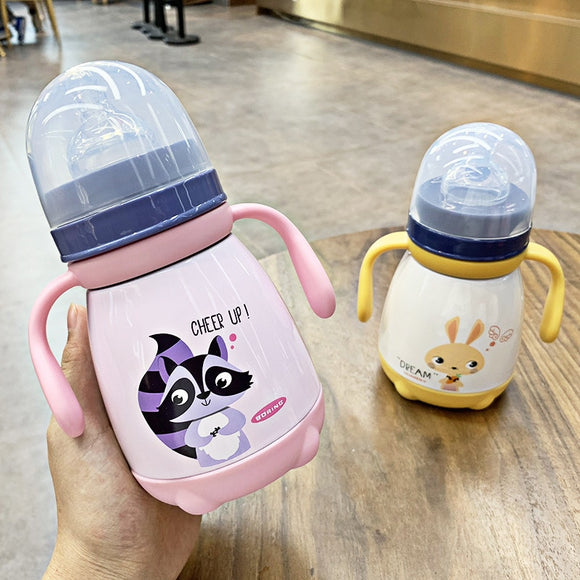 330ml Baby Feeding Cup with nipple Stainless Steel Insulated hot water Bottle leak-poof thermal Cup Milk Thermos for Children