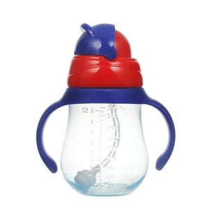 260ml Drinking Wide Mouth Feeding Bottle Water With Handles Silicone Straw Baby Learn Drinking Water Cup (dropshipping)