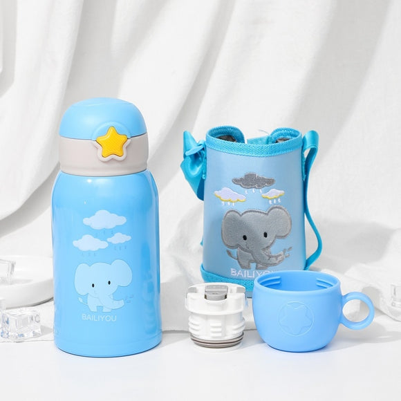 600ml Baby animal Feeding Cup Stainless Steel Milk Thermos for Children Insulated hot water Bottle leak-poof thermal Cup