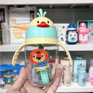Cartoon 350ML Baby Feeding Bottle Wide-Caliber Multifunctional Portable Dual-use Children Drinking Straw Cups Drinkware BPA Free