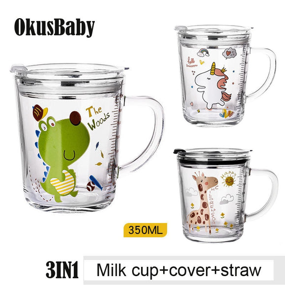 350ml Milk Cup with Cover Silicone straw for Baby Learning Drinking Cartoon Animal Unicorn Water Bottle Heat-Resistant Handle