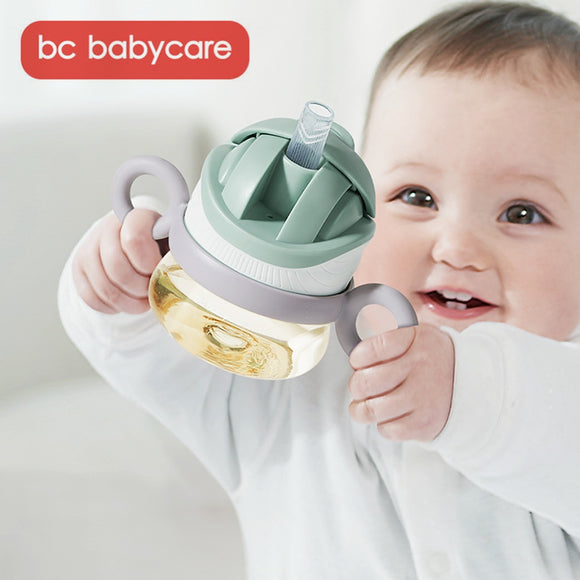 BC Babycare Baby Sippy Cup Learn Feeding Drinking Water V-Straw Handle Baby Bottle Leak-Proof Shoulder Strap Training Cup 80ml