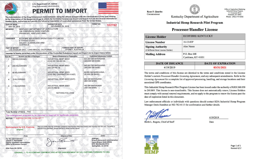 DEA license to import hemp seeds, granted to Ecofibre