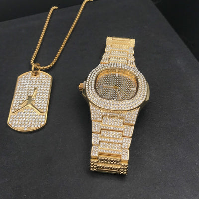 Luxury Gold Men Watch & Necklace Combo Set Men Hip Hop Jewerly - Savefy