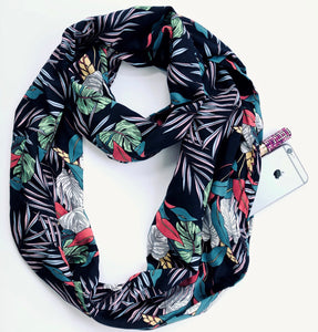 Secret pocket travel scarf in a navy tropical print
