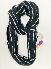 Load image into Gallery viewer, travel scarf with hidden pocket infinity shape with black and white stripes
