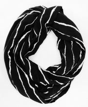 Load image into Gallery viewer, travel scarf with secret pocket infinity shape black and white stripe