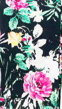 Load image into Gallery viewer, travel scarf with hidden pocket black floral print