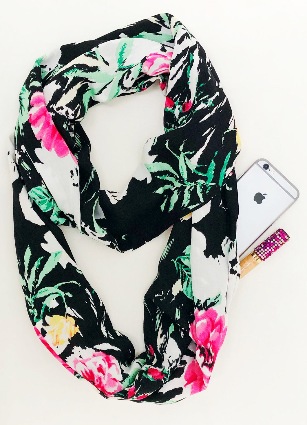 infinity travel scarf features a hidden pocket with floral print design