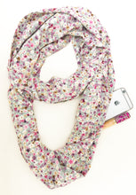 Load image into Gallery viewer, Travel Scarf featuring hidden pocket in ditzy green floral print