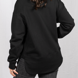 scooped hem on Pullover hidden pocket travel sweatshirt