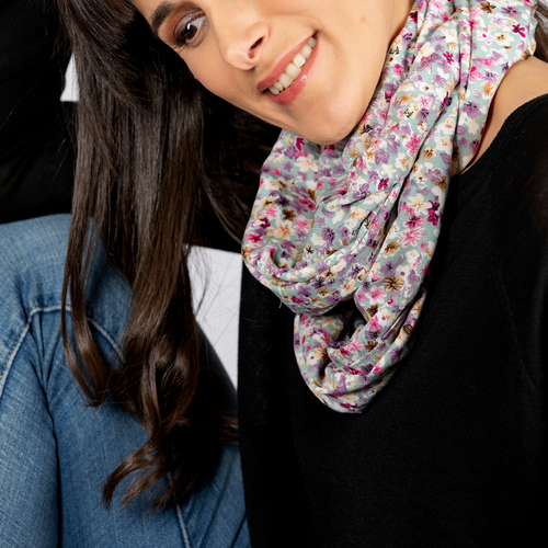 Travel Scarf featuring hidden pocket in ditzy green floral print