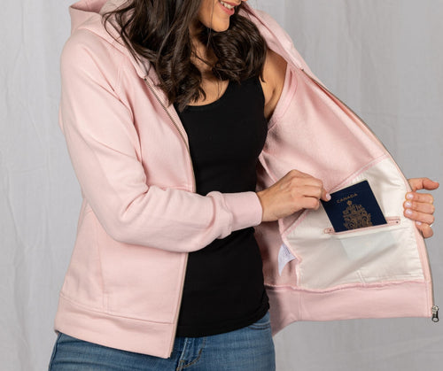 Travel Sweatshirt with five hidden pockets