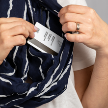 Load image into Gallery viewer, travel scarf with hidden pocket black and white striped