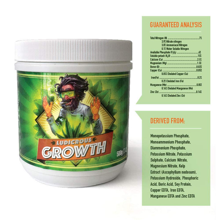 Ludicrous Nutrients Premium GROWTH Fertilizer Eco Friendly - to Grow The Ultimate Big Strong Plants for Indoor, Outdoor, and/or Hydroponic Growing or in Soil (Growth, 500 Grams)