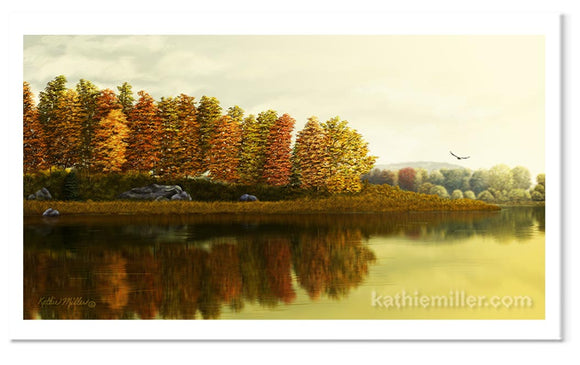 Autumn Morning landscape painting by award winning artist Kathie Miller.