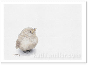 Baby sparrow painting by award winning artist Kathie Miller.