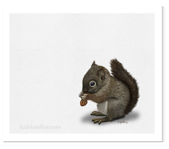 Baby squirrel painting by award winning artist Kathie Miller.