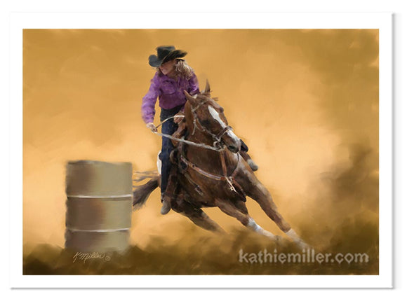 Barrel Racing with female rider painting by award winning artist Kathie Miller.