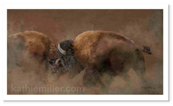 Two bison fight for dominence. Digital art by award winning artist Kathie Miller
