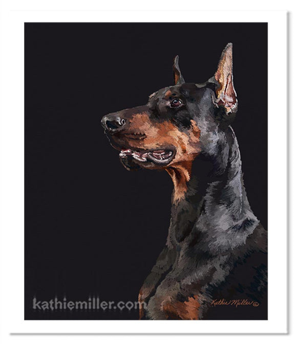 Portrait painting of a black dobreman against a black background. by award winning artist Kathie Miller.