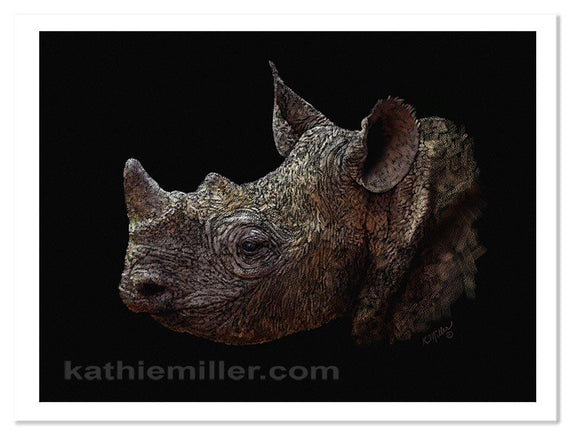Black Rhino Portrait on a black background by award winning artist Kathie Miller