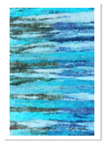 Abstract painting of the ocean waves in blues and greens by award winning artist Kathie Miller