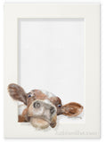 Tromp l'oeil painting of a calf peeking out from the picture frame by award winning artist Kathie Miller