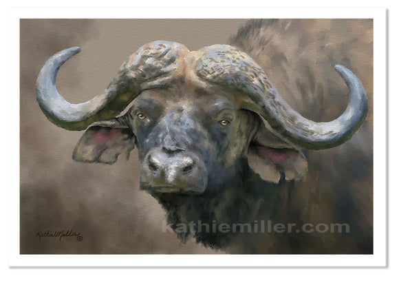 Cape Buffalo painting by award winning artist Kathie Miller