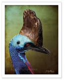 Portrait of a cassowary, a large Australian bird by award winning artist Kathie Miller.