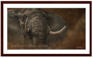 Charging Elephant painting by award winning artist Kathie Miller. Prints available.