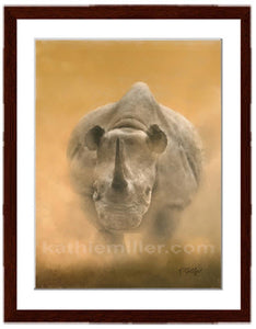 Charging Rhino painting by award winning artist Kathie Miller. Prints available.