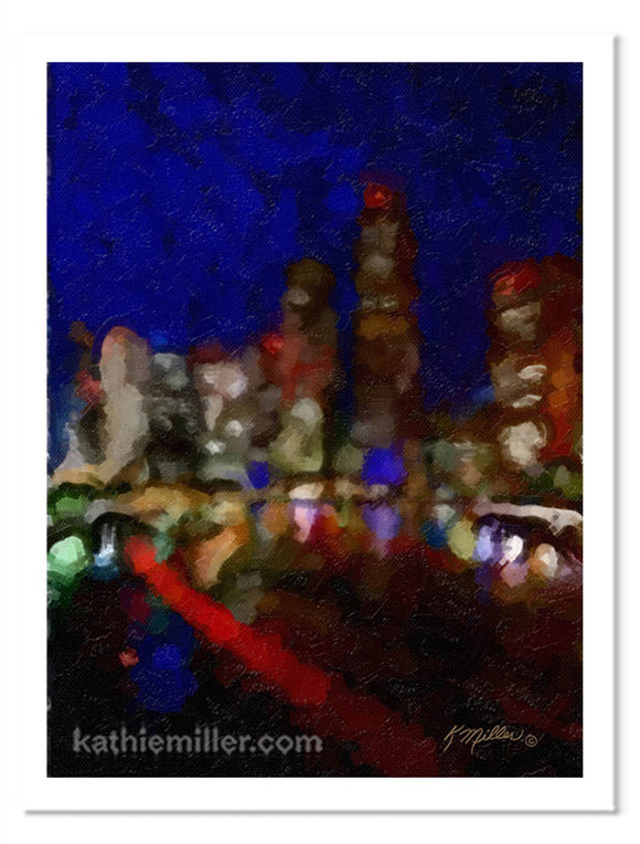 Simi abstract painting of a big city at night. It's bright lights reflecting in the water below. Painting by award winning artist Kathie Miller.