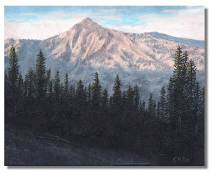 "Original oil painting of the rising sun over the San Gabriel Mountains, California. 8"" x 10"" oil on panel by award winning artist Kathie Miller. Free shipping to the lower 48 states. Painting is shipped unframed."