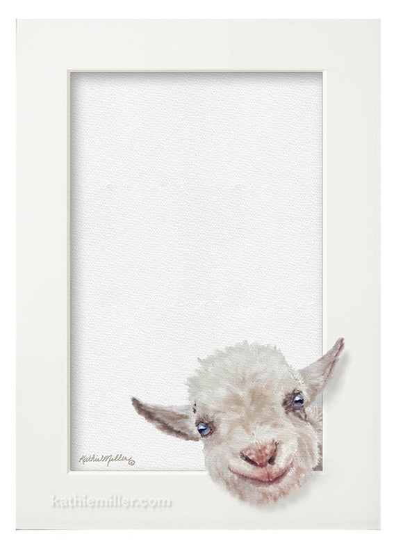 Baby goat Trompe l'oeil painting by award winning artist Kathie Miller.