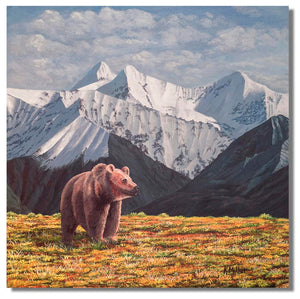 "Original acrylic painting of a lone grizzly bear among the snow covered Danali Mountains. 12"" x 12"" acrylic on panel by award winning artist Kathie Miller. Free shipping to the lower 48 states. Painting is shipped unframed."