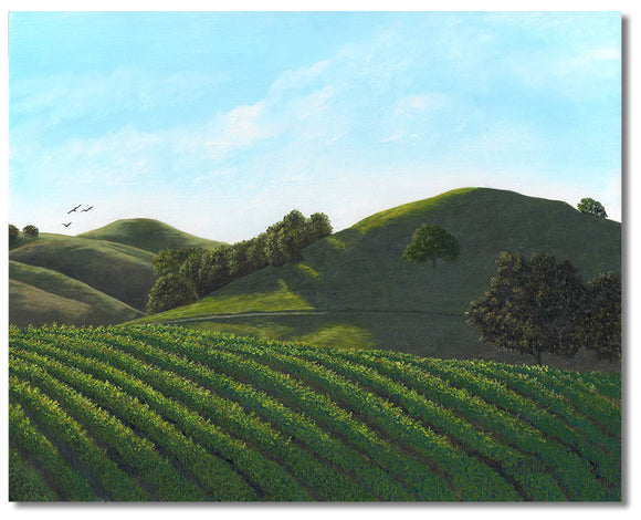 "Original hyper realistic oil painting of grape vines among the hills in Sonoma Valley, California. 8"" x 10"" Oil on panel by award winning artist Kathie Miller. Free shipping to the lower 48 states. Painting is shipped unframed."