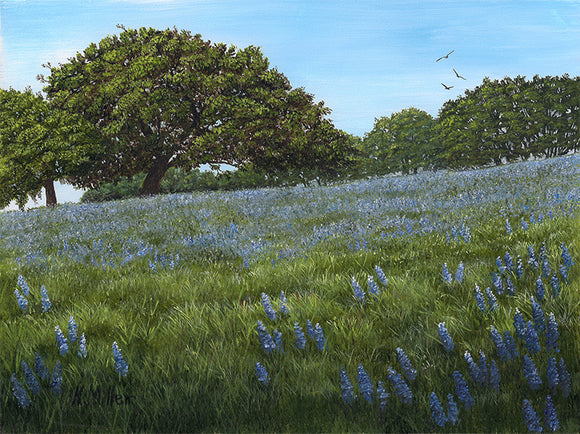 Oak Tree and Lupin Flowers - SOLD