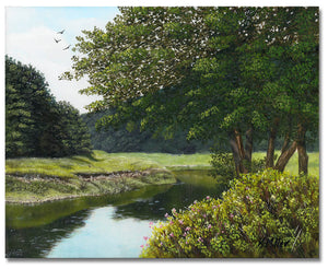 Original hyper realistic oil painting of trees and a grassy bank by a river, 8 x 10 Oil on panel by award winning artist Kathie Miller. Free shipping to the lower 48 states. Painting is shipped unframed.