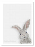 Baby rabbit art by award winning artist Kathie Miller. Perfect for any child's room.