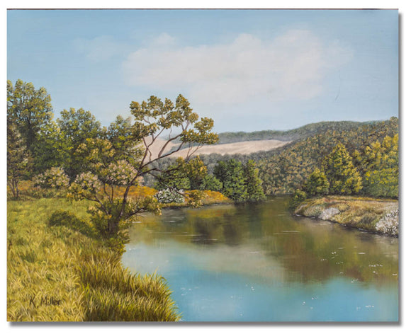 Original hyper realistic oil painting of trees and grassy hills by a river, 8 x 10 Oil on panel by award winning artist Kathie Miller. Free shipping to the lower 48 states. Painting is shipped unframed.