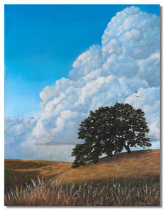 Original hyper realistic oil painting of thunder clouds over Mt Diablo, California, a lone oak stands on a hill. 8 x 10 Oil on panel by award winning artist Kathie Miller. Free shipping to the lower 48 states. Painting is shipped unframed.
