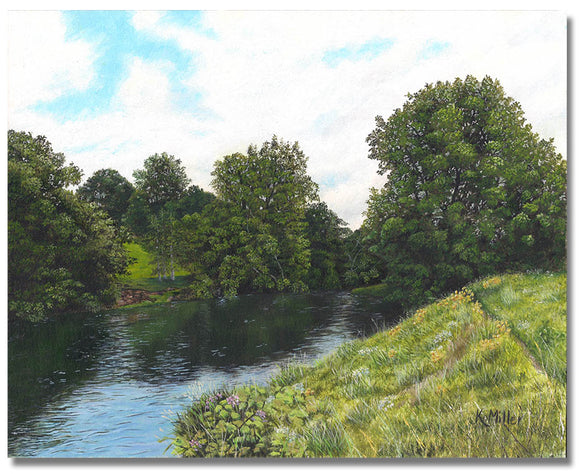 Original hyper realistic oil painting of trees and a grassy hill by a river. 8 x 10 Oil on panel Free shipping to the lower 48 states Painting is shipped unframed