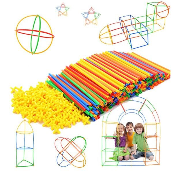Colorful Interlocking Straw Construction Education STEM Toys