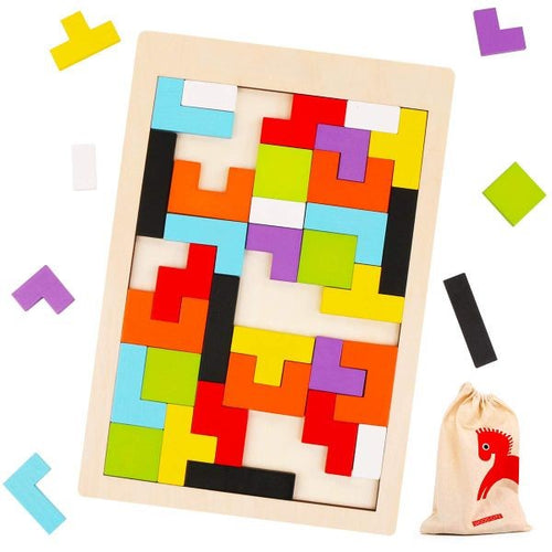 Wooden Tetris Puzzle Educational Brain Teaser Toy